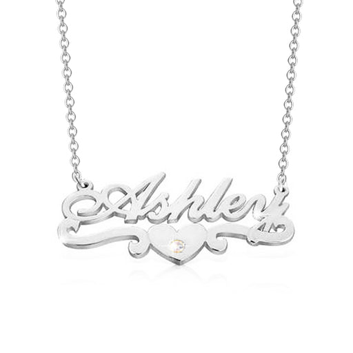 "925 Sterling Silver Personalized Heart Diamond  Name Necklace Adjustable 16""-20"""