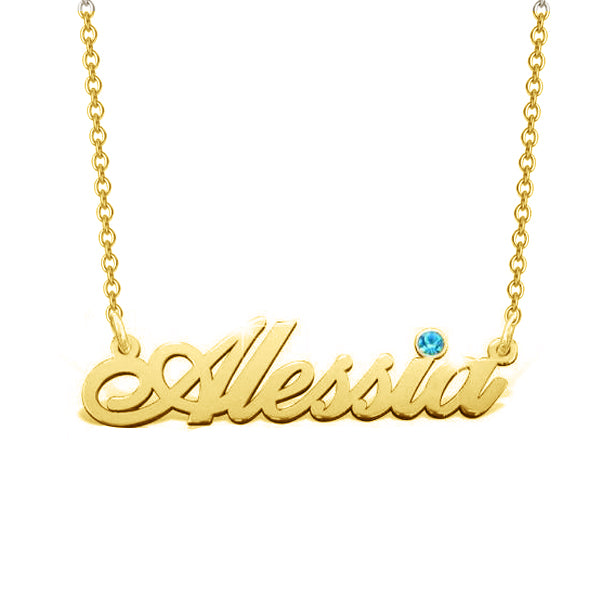 "14K Gold Personalized Birthstone Name Necklace Adjustable 16""-20"""
