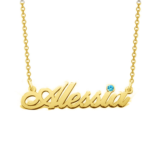 "Alessia - 925 Sterling Silver Personalized Birthstone Name Necklace  Adjustable 16""-20"""
