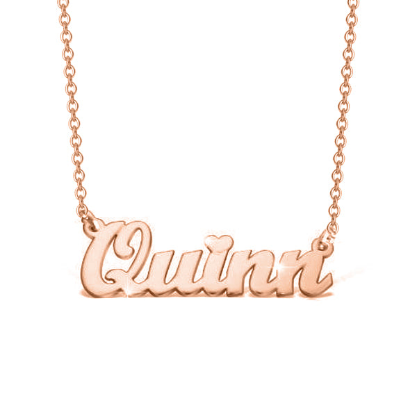 "14K Gold Personalized Name Necklace With A Heart Adjustable 16""-20"""
