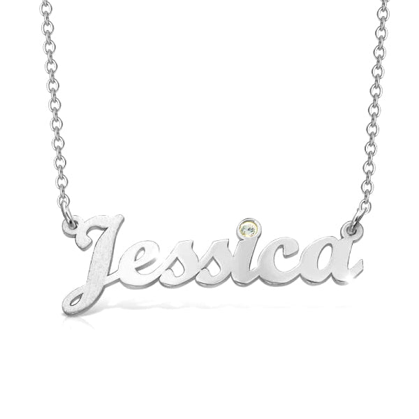 "925 Sterling Silver Personalized Birthstone Cursive Name Necklace Adjustable 16""-20"""