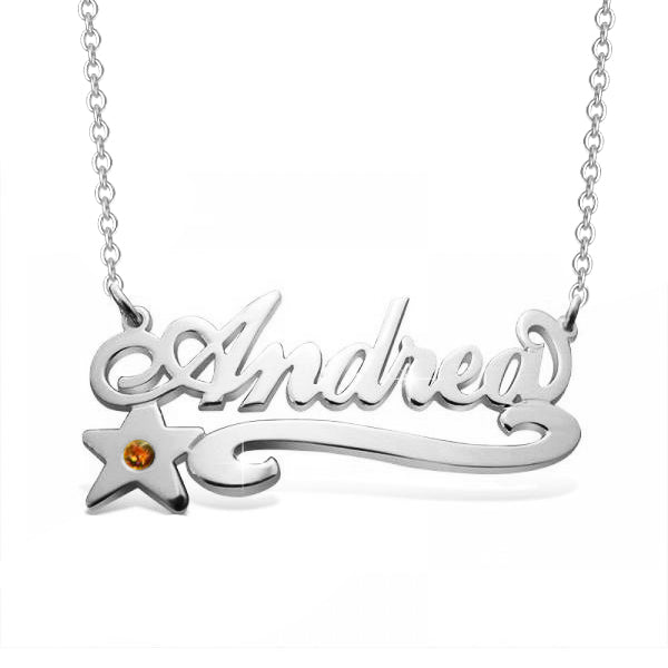 "14K Gold 925 Sterling Silver Personalized Birthstone Star Name Necklace Adjustable 16""-20"""