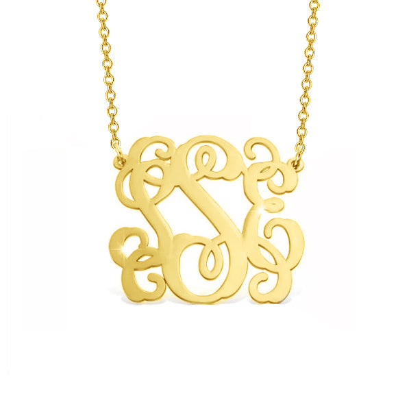 "14K Gold Personalized Monogram Necklace Adjustable 16""-20"""