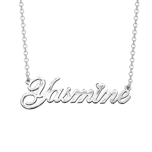 "925 Sterling Silver Personalized Classic Cursive Heart Name Necklace Adjustable 16""-20"""