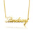 "14K Gold Personalized Classic Cursive Name Necklace Adjustable 16""-20"""