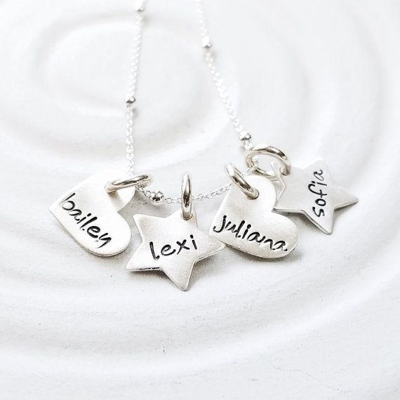 "925 Sterling Silver Personalized Heart & Stars Necklace Adjustable 16""-20"""