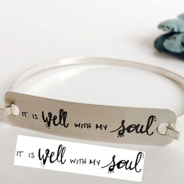 925 Sterling Silver Personalized  Handwritten Engraved Bangle