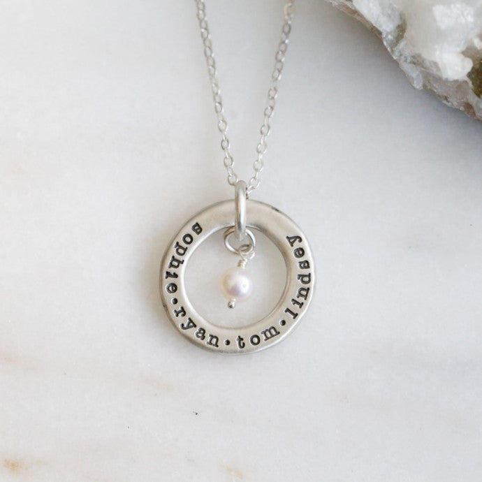 "Circle of Love 925 Sterling Silver  Personalized Mother&Child Name Necklaces -Adjustable 16""-20"""