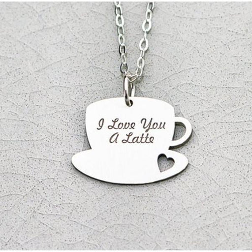 "925 Sterling Silver Personalized I Love You a Latte Coffee Lover Gift  Necklace- Adjustable 16""-20"""