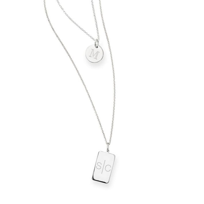 "925 Sterling Silver Personalized Double Layer Engravable Necklace-Adjustable 16""-20"""