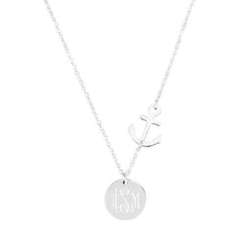 "925 Sterling Silver Personalized Monogram Anchor Necklace-Adjustable 16""-20"""