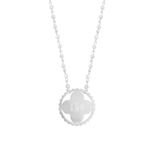 "925 Sterling Silver Personalized Round Lucky Clover Monogrammed  Necklace Adjustable 16""-20"""