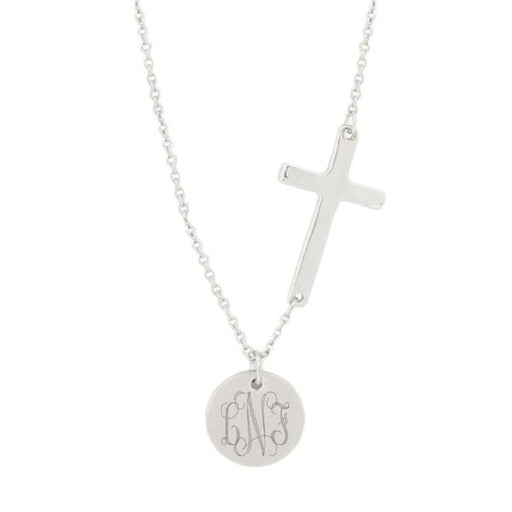 "925 Sterling Silver Personalized  Monogrammed Cross Necklace Adjustable 16""-20"""
