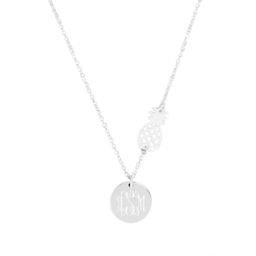 "925 Sterling Silver Personalized  Monogrammed Pineapple Necklace Adjustable 16""-20"""
