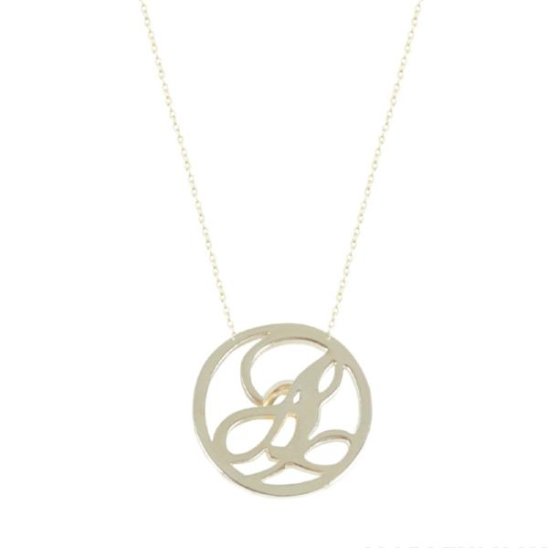 "925 Sterling Silver Single Initial Script Personalized Engraved Necklace-Adjustable 16""-20"""