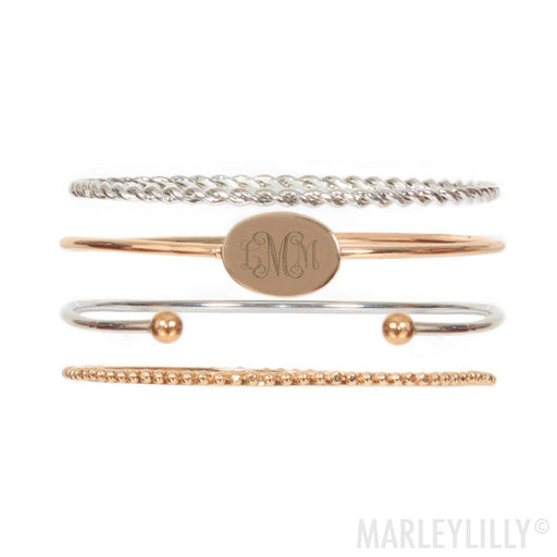 925 Sterling Silver Personalized Monogrammed Bangle Set
