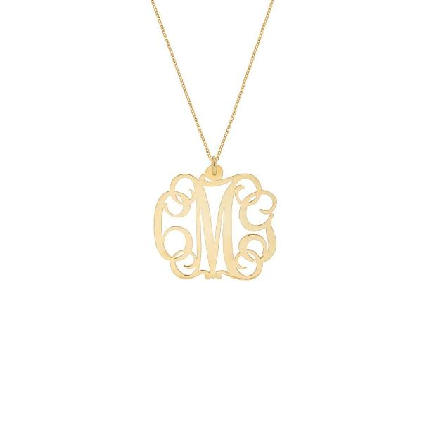 "925 Sterling Silver Personalized Monogram Necklace- Adjustable 16""-20"""