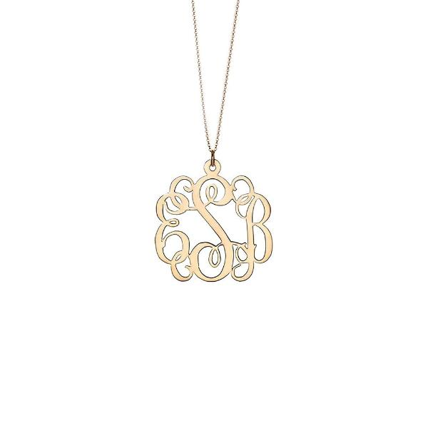 "925 Sterling Silver Personalized Fancy Script Monogram Necklace Adjustable 16""-20"""