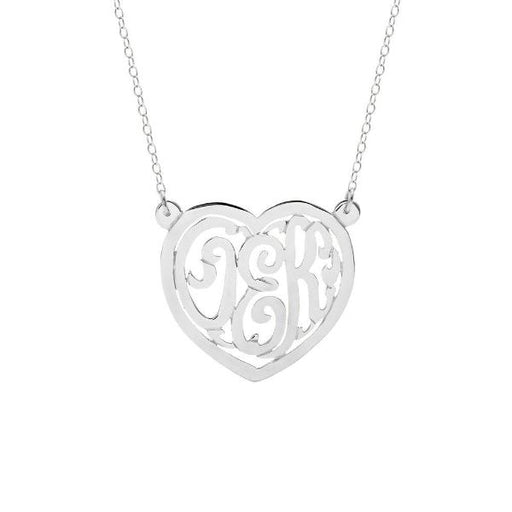 "925 Sterling Silver Custom Monogram Heart Necklace Adjustable 16""-20"""