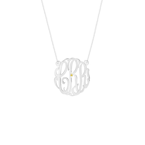 "925 Sterling Silver Personalized Birthstone Monogram Necklace Adjustable 16""-20"""