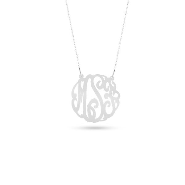 "925 Sterling Silver Personalized Monogram Acrylic Necklace Adjustable 16""-20"""