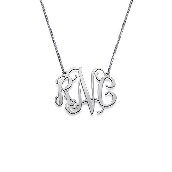"925 Sterling Silver Personalized Celebrity Monogram Necklace Adjustable 16""-20"""