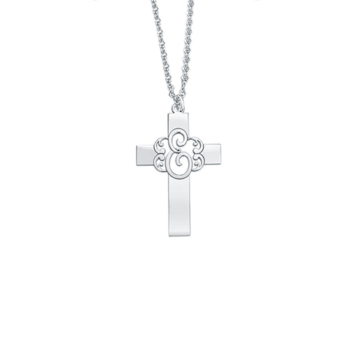"925 Sterling Silver Personalized Monogram Cross Pendant Necklace Adjustable 16""-20"""