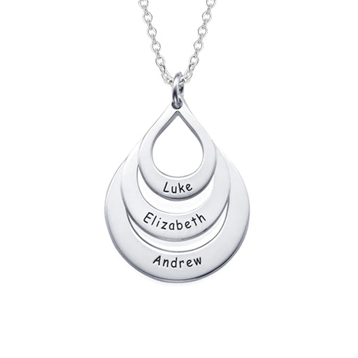 "Water Drop 925 Sterling Silver Personalized Engravable Name Necklaces- Adjustable 16""-20"""