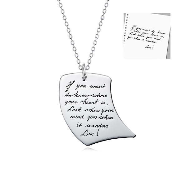 "925 Sterling Silver Personalized Writing Message Necklace-Adjustable 16""-20"""