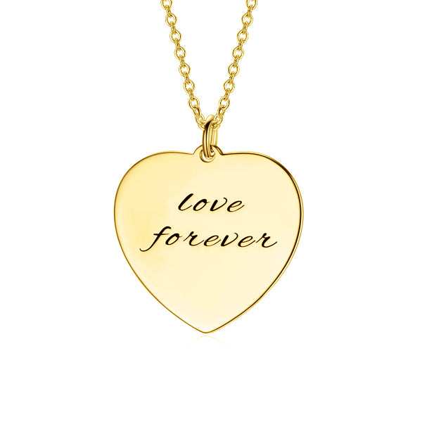"Forever In My Heart-Copper/925 Sterling Silver Personalized Heart Necklace Adjustable 16""-20"""