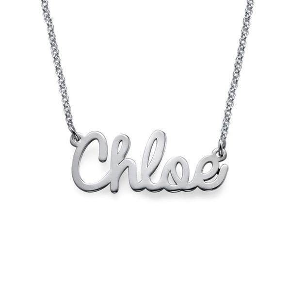 "925 Sterling Silver Personalized Cursive Name Necklace Adjustable 16""-20"""