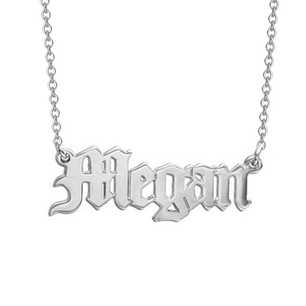 "Megan - 925 Sterling Silver Personalized Old English Name Necklace Adjustable 16""-20"""