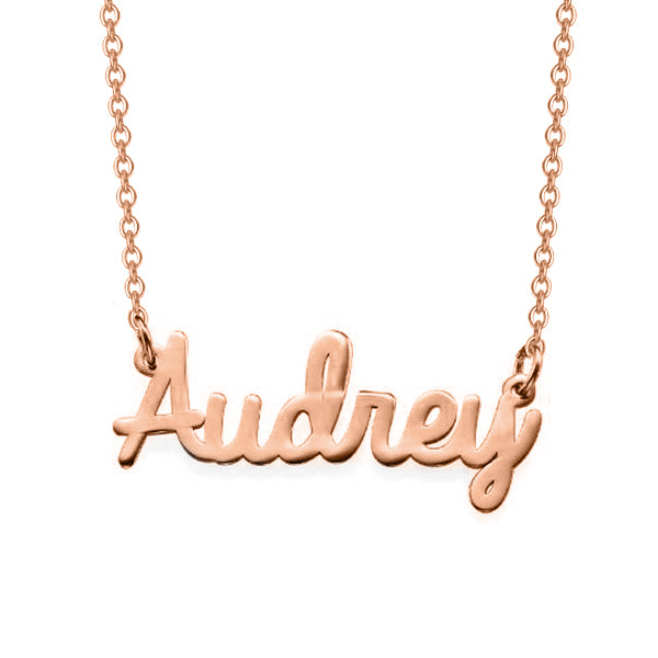 "Audrey - 925 Sterling Silver Personalized Cursive Name Necklaces Adjustable Chain 16""-20"""