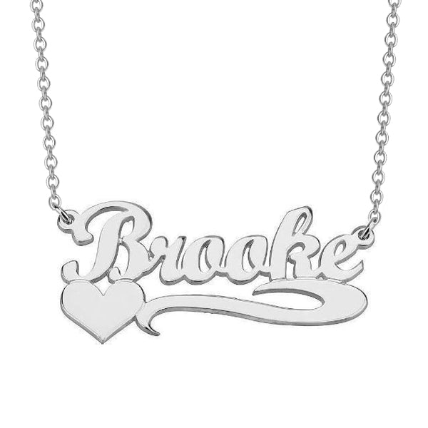 "Brooke - 925 Sterling Silver/10K/14K/18K Personalized Name Necklace with Heart Adjustable 16""-20"""