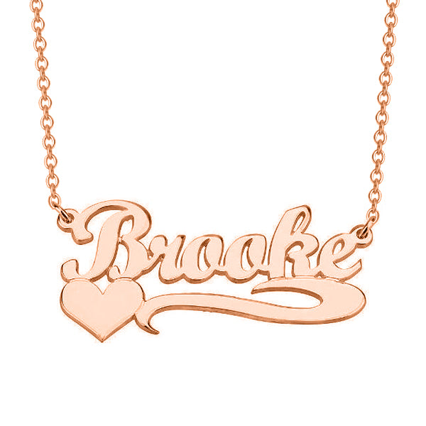"Copper/925 Sterling Silver/10K/14K/18K Personalized Name Necklace with Heart Adjustable 16""-20"""