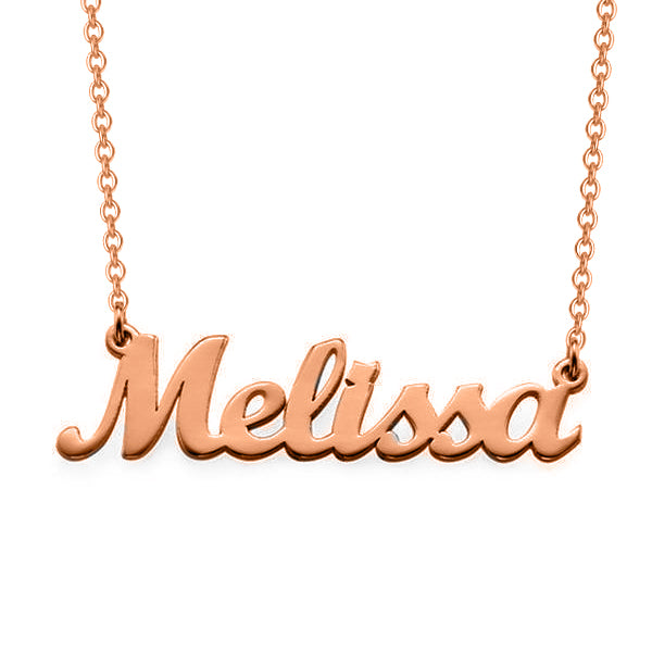 "Melissa - Copper/925 Sterling Silver Personalized Script Name Necklace Adjustable 16""-20"""