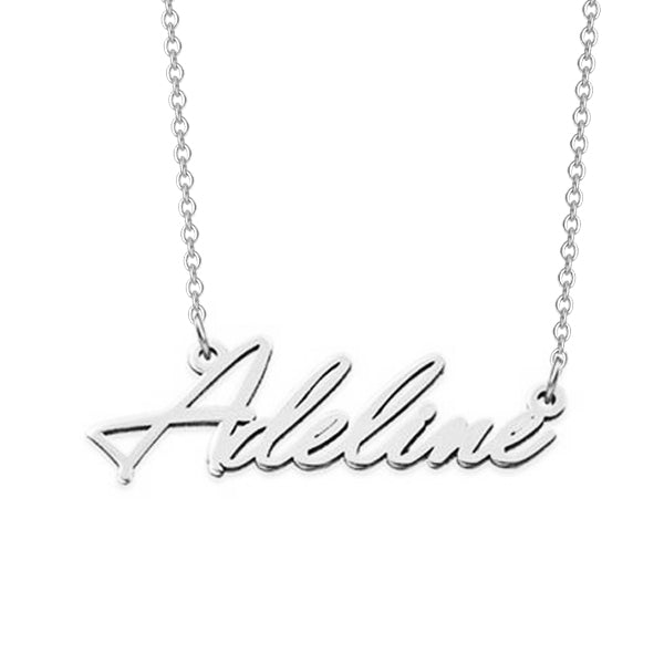 "925 Sterling Silver Personalized Classic Name Necklaces Adjustable Chain 16""-20"""