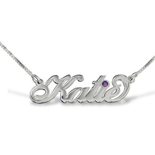 """Katie""Style Copper/925 Sterling Silver Personalized Swarovski Name Necklace Adjustable 16""-20"""