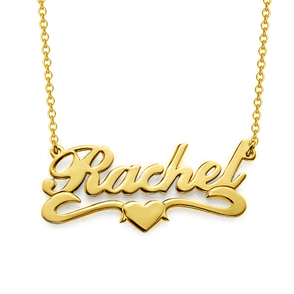 "Rachel - 925 Sterling Silver/10K/14K/18K  Personalized Middle Heart Name Necklace Adjustable 16""-20"""