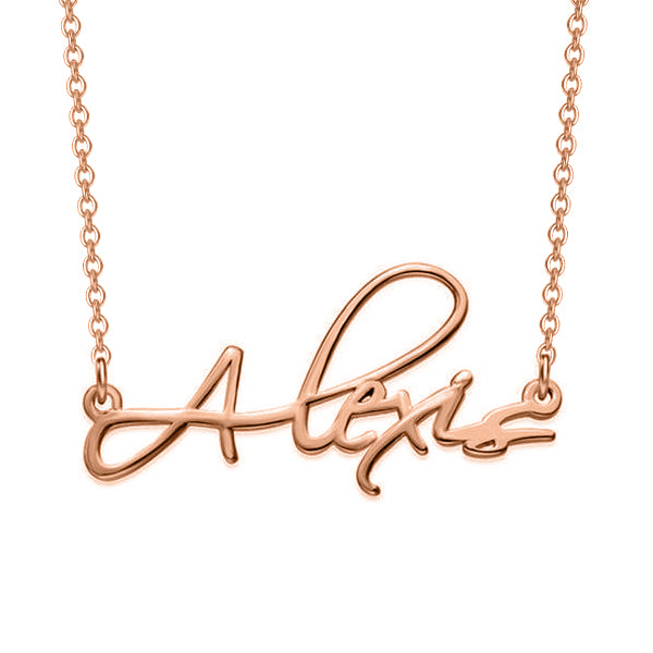 "Alexis - Copper/925 Sterling Silver Personalized Script Necklace Adjustable 16""-20"""