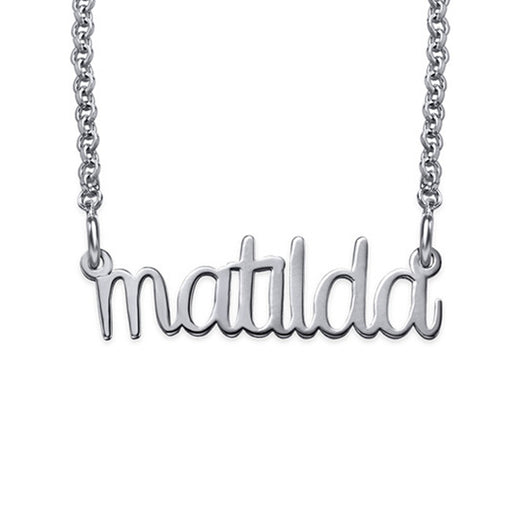 "925 Sterling Silver Personalized Lower Case Design Name Necklace Adjustable 16""-20"""