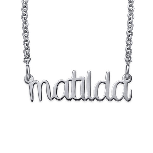 "Copper/925 Sterling Silver Personalized Lower Case Design Name Necklace Adjustable 16""-20"""