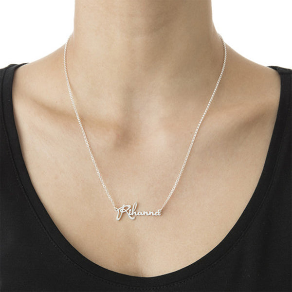 """Rihanna""-925 Sterling Silver Personalized Classic Name Necklaces Adjustable Chain 16""-20"""
