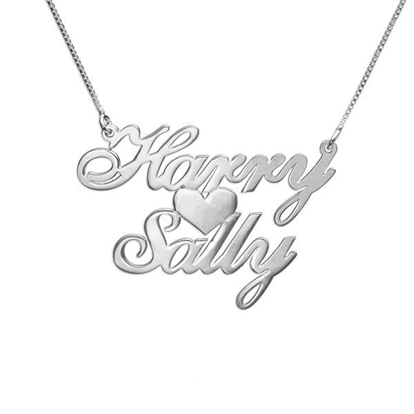 "925 Sterling Silver Personalized Two Names & Heart Pendant Necklaces Adjustable Chain 16""-20"""