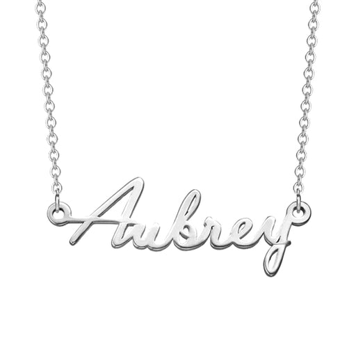 "925 Sterling Silver Personalized Script Name Necklaces Adjustable Chain 16""-20"""