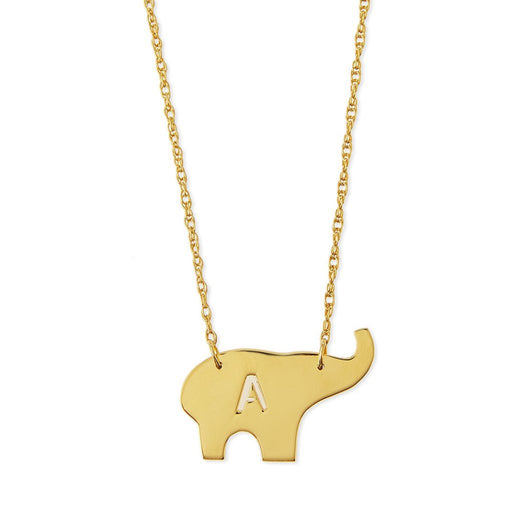 "925 Sterling Silver Personalized Elephant Initial Necklace-Adjustable 16""-20"""