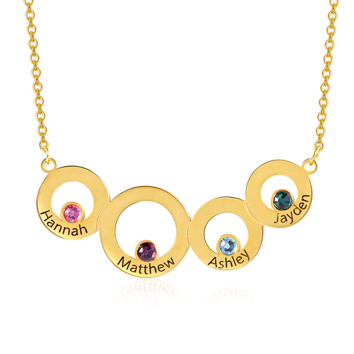 925 Sterling Silver Personalized Disc and Birthstone Necklace For Women