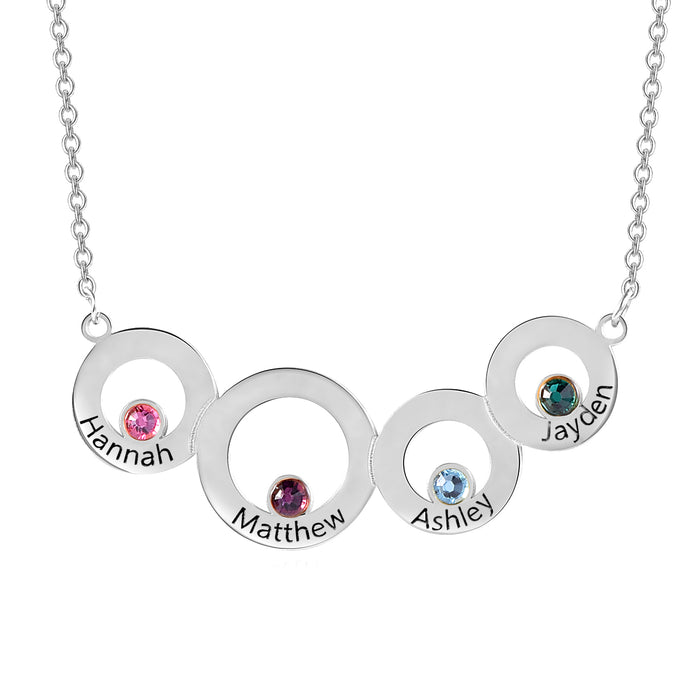 925 Sterling Silver Custom Engraved Necklace 4 Circles with Birthstone Necklace For Women