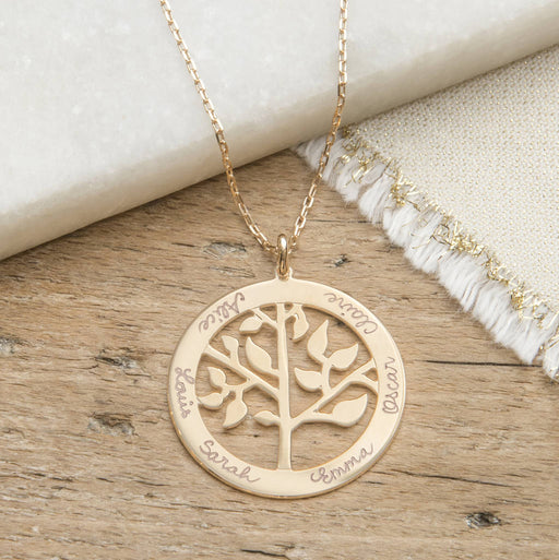 "Copper/925 Sterling Silver Personalized Engraved Round Life Tree Necklace-Adjustable 16""-20"""