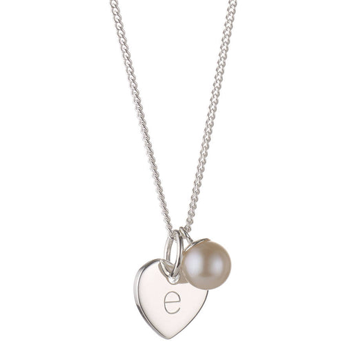 "925 Sterling Silver Personalized Love Heart Pearl Necklace Adjustable 16""-20"""